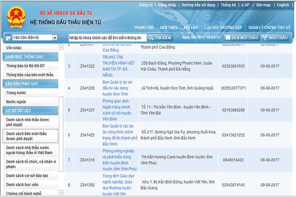 Đăng ký thông tin trên hệ thống mạng đấu thầu quốc gia