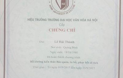 Lớp học cấp chứng chỉ tu bổ di tích tại TPHCM - Hồ Chí Minh