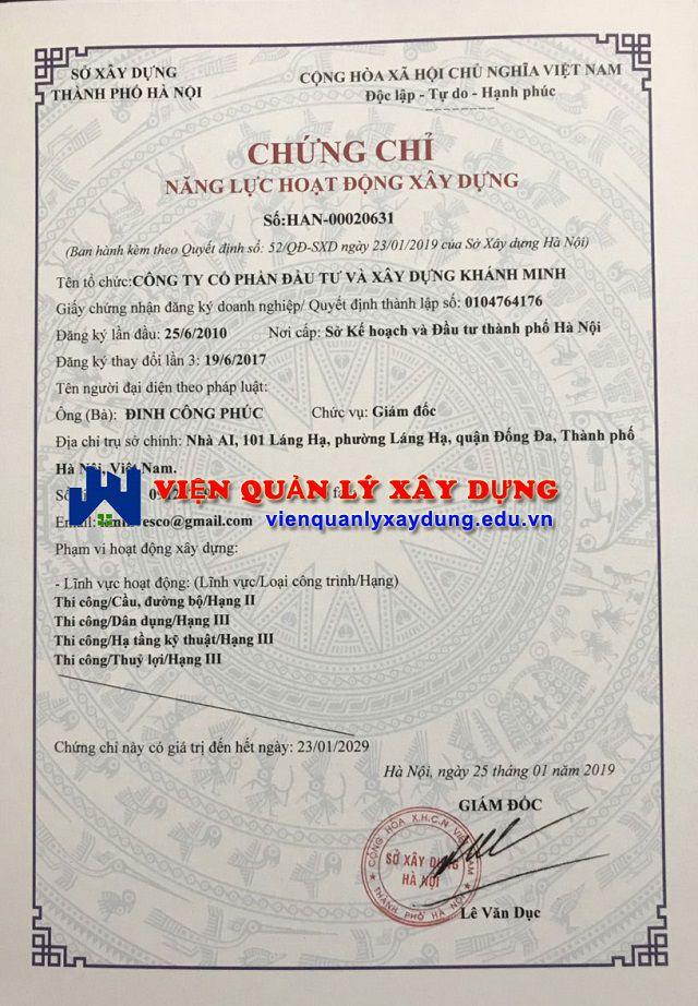 Chứng chỉ năng lực xây dựng tại Bắc Ninh - Bắc Giang